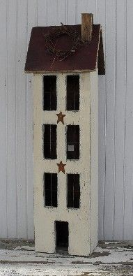 these saltbox houses look great anywhere. - bethscountryprimitivehomedecor.com
