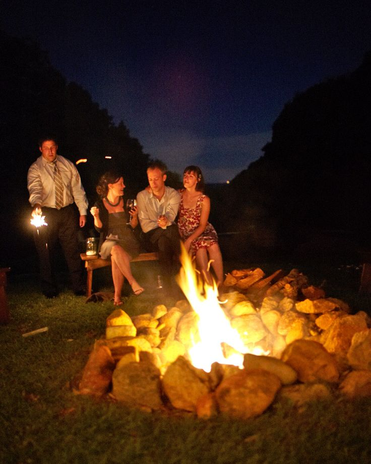 Guests roasted marshmallows and kept toasty around a fire as the evening wore on and the temperature dropped.