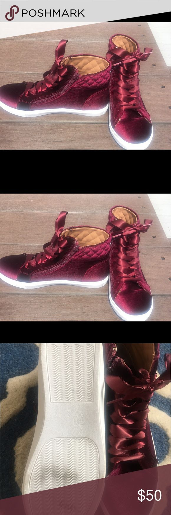 STEVE MADDEN ENDIRA VELVET HIGH TOP SNEAKERS Brand new. Maroon color. Few minor scuffs in soles from the store Steve Madden Shoes Sneakers