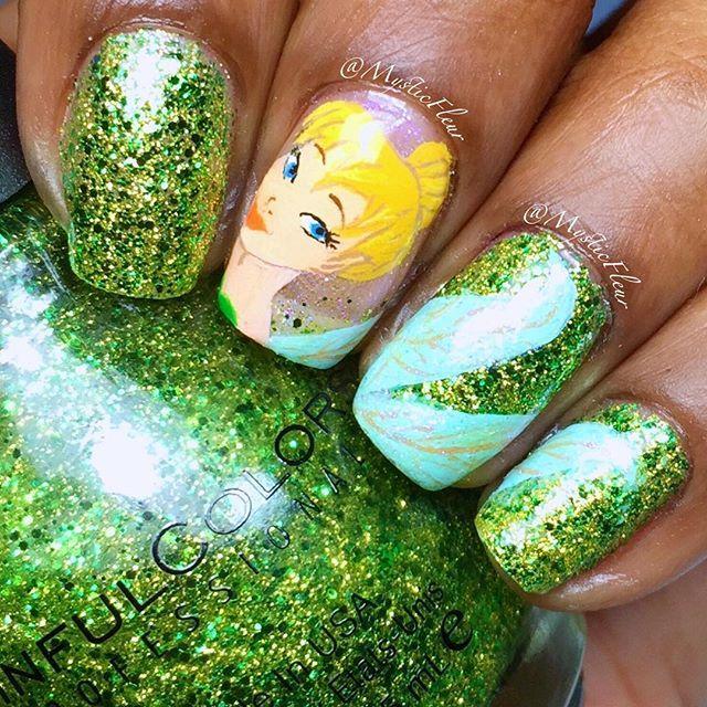 Tinker Bell nail art! Wow what an art #nailart #tinkerbell