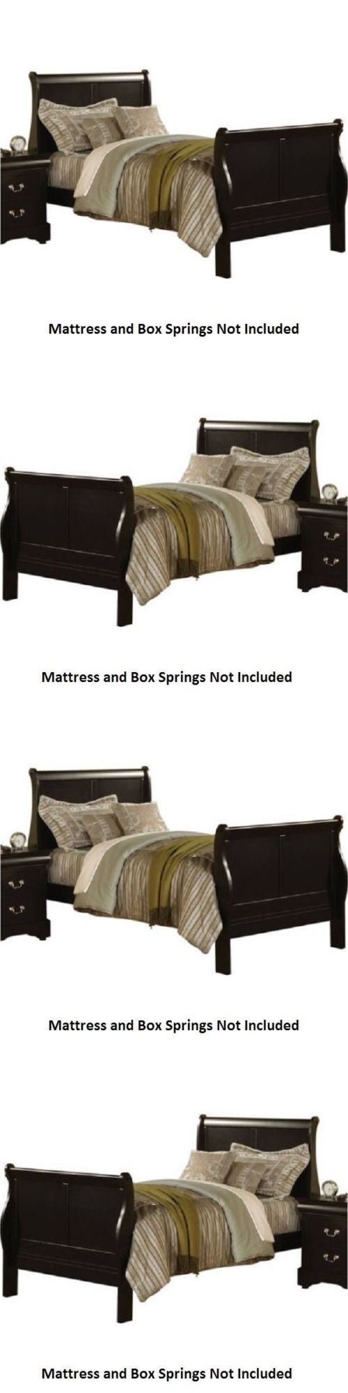 Beds and Bed Frames 175758: Black Full Size Bed Frame With Wood Headboard Sleigh Modern Bedroom Furniture -> BUY IT NOW ONLY: $199.98 on eBay!