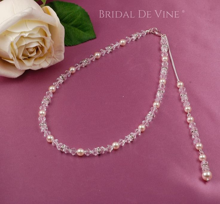 Bridal   Backdrop Necklace Made with Swarovski Crystals Diamante & Glass Pearls