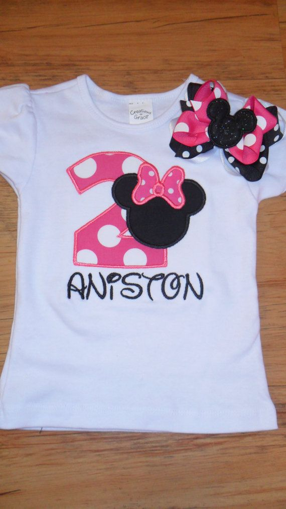 Personalized Minnie Mouse Birthday Applique Shirt and Hairbow on Etsy, $30.00