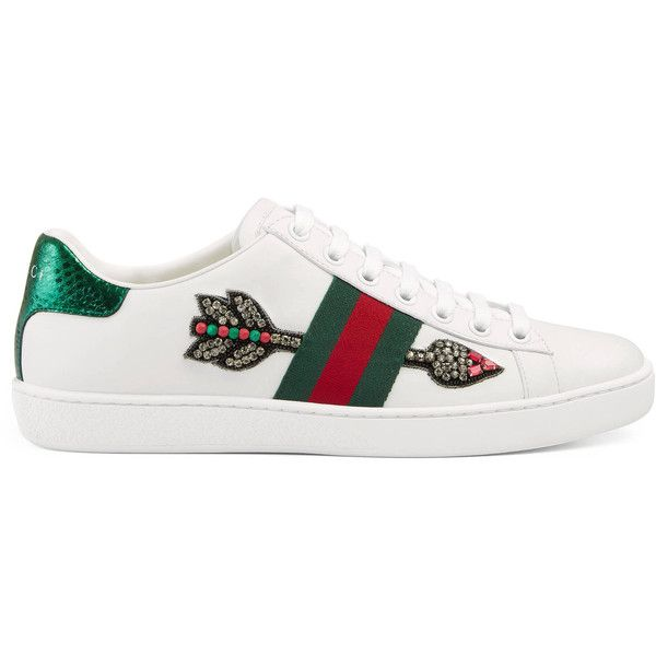 Gucci Ace Embroidered Low-Top Sneaker ($695) ❤ liked on Polyvore featuring shoes, sneakers, white, white low tops, leather shoes, white leather shoes, snake sneakers and white low top shoes