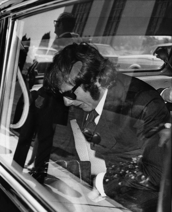 Los Angeles, August 1969, Roman Polanski during the funeral of Sharon Tate.
