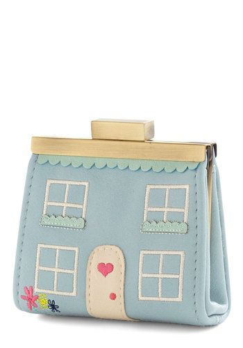 House Fund Wallet in Blue by Ollie & Nic - Blue, Multi, Scallops, Darling, Variation, Blue, Faux Leather, Novelty Print, Quirky