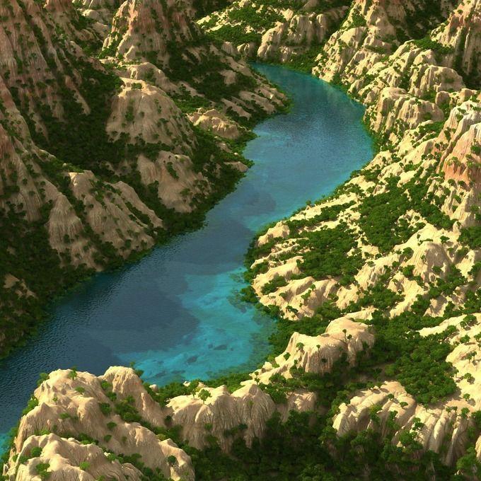 Mountain terrain with lake by konstantin.ermolaev on @creativemarket