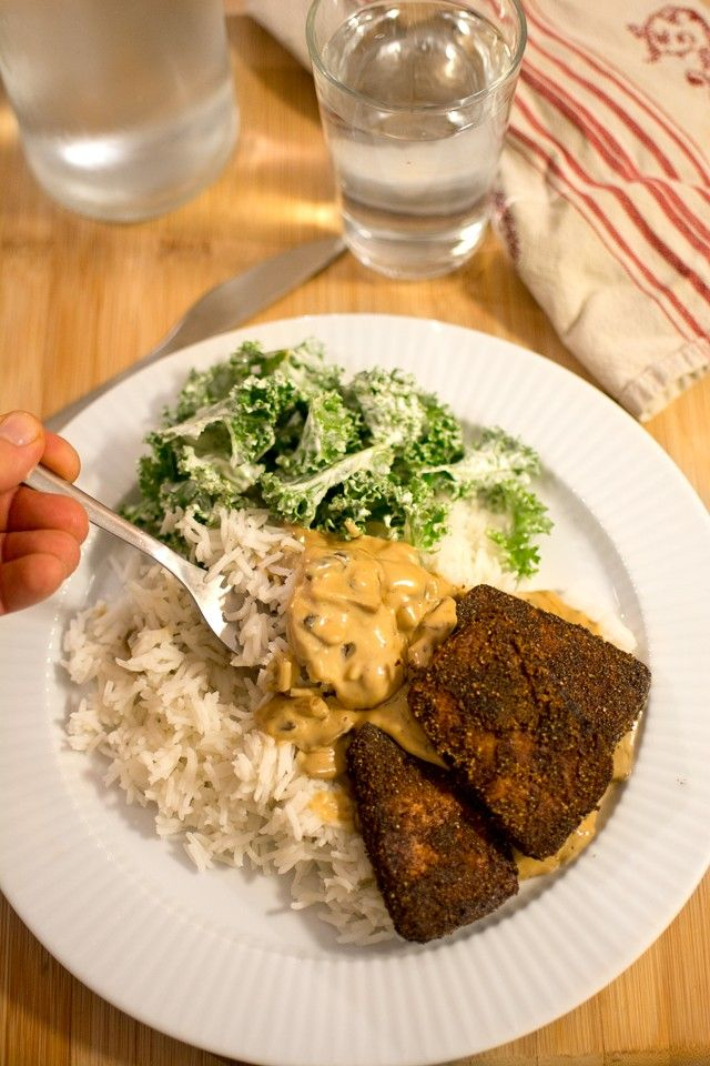 Krispig tofu med svampsås