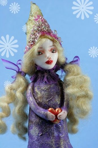 Elka handmade clay figurine elf Christmas fairy with a heart https://www.etsy.com/listing/190923853/wish-upon-a-star-art-doll-elf-fairy?