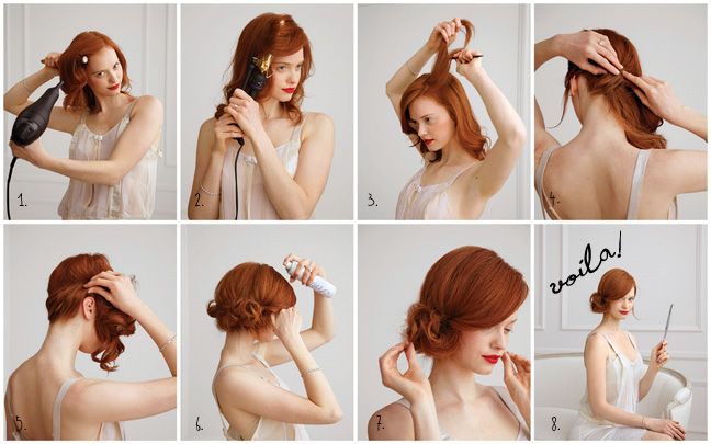side chignon: Easy Hair, Chignons, Hairstyles, Red Hairs, Hairs Tutorials, Hairs Styles, Hairs Color, Holidays Hairs, Side Buns