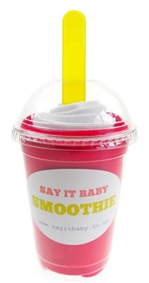 This baby bib smoothie is a fun and bright baby gift for a girl or boy. It contains a set of 2 pull-over baby bibs made of 100% cotton - one in red and one white. The smoothie comes complete with matching baby spoon, and presented in a fun smoothie cup. A great, unique gift for baby.
