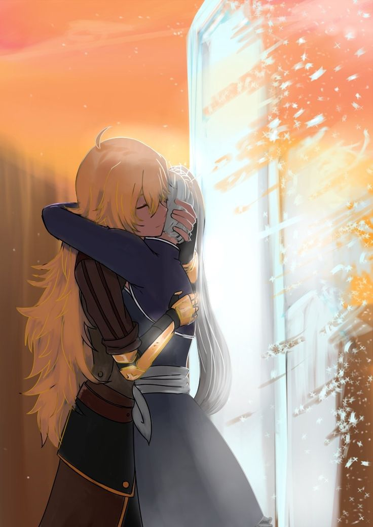 """The last time Weiss saw Yang, she was unconscious and missing an arm. Her line """"I missed you so much"""" has such a huge amount of emotion in it, I almost feel like Weiss wasn't sure whether or not Yang survived. Anyways, my fandom sobbing tears aside, this was just the most beautiful moment. I'm so happy they're reunited!"""