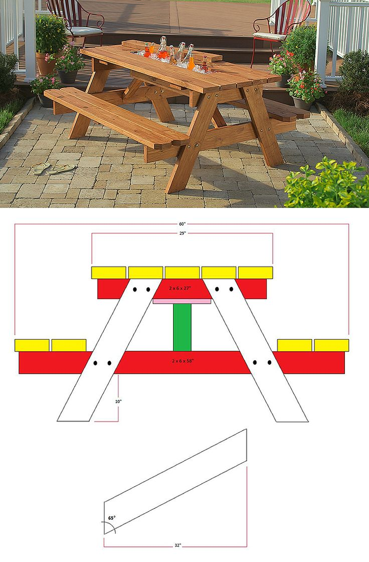 The built-in tabletop cooler bin with a replaceable cover makes this DIY picnic table something special. We have the step-by-step tutorial, along with plans and even video demonstrations of the steps at homedepot.com.