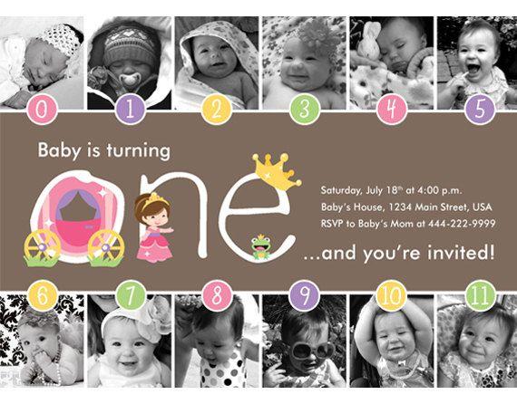 NEW - Princess Timeline FIrst Birthday Invitation