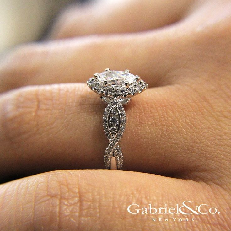 Gabriel NY - Voted #1 Most Preferred Fine Jewelry and Bridal Brand. 14k White Gold Marquise Halo  Engagement Ring