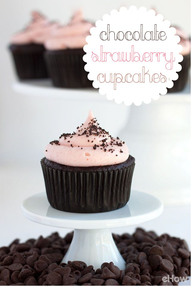 Chocolate + Strawberry + Cupcake! A MUST cupcake combo you have to try (perfect for Valentine's Day, too!).  Moist, dark chocolate cake with fresh strawberry buttercream recipe here: http://www.ehow.com/how_12342907_chocolate-strawberry-cupcake-recipe.html?utm_source=pinterest.com&utm_medium=referral&utm_content=freestyle&utm_campaign=fanpage
