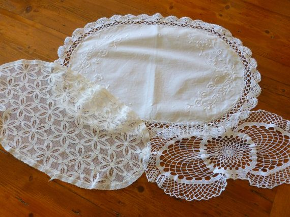 Vintage Lace and Linen Doilies Vintage Linen by MuskRoseVintage