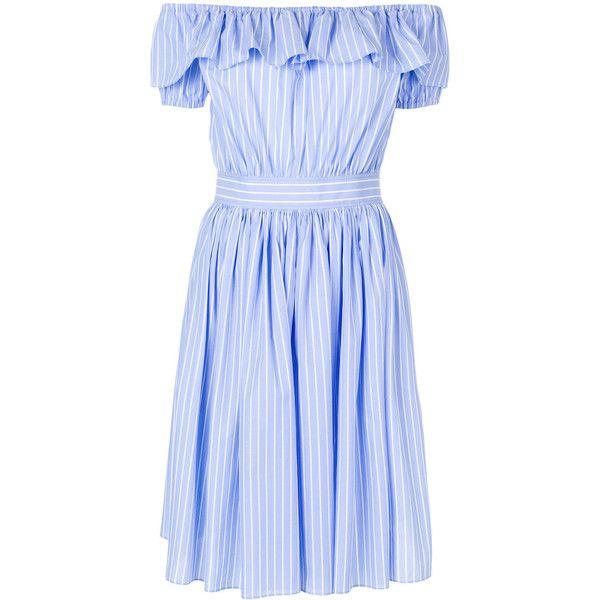 Miu Miu frilled bardot dress (3 845 PLN) ❤ liked on Polyvore featuring dresses, blue, striped dress, stripe dresses, blue off shoulder dress, striped off the shoulder dress and blue skater skirt