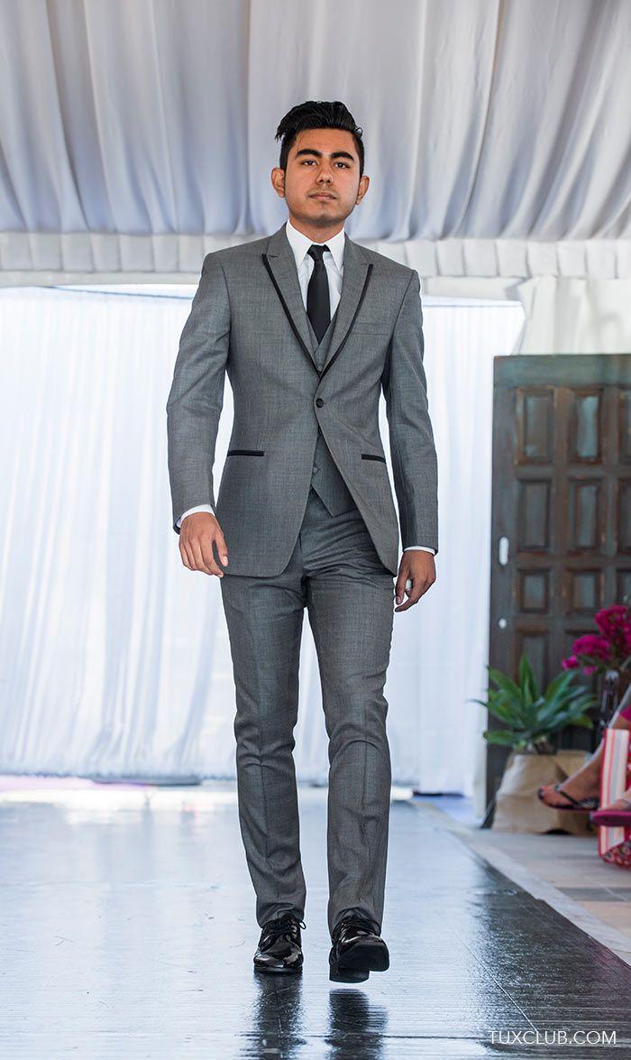 Ike Sharkskin and Matching Vest with Black Skinny Dress Tie | Tux Shop | Tuxedo Rentals | Suit Rentals | The Gentlemen's Tux Club San Diego | Tuxedo and Suit Sales