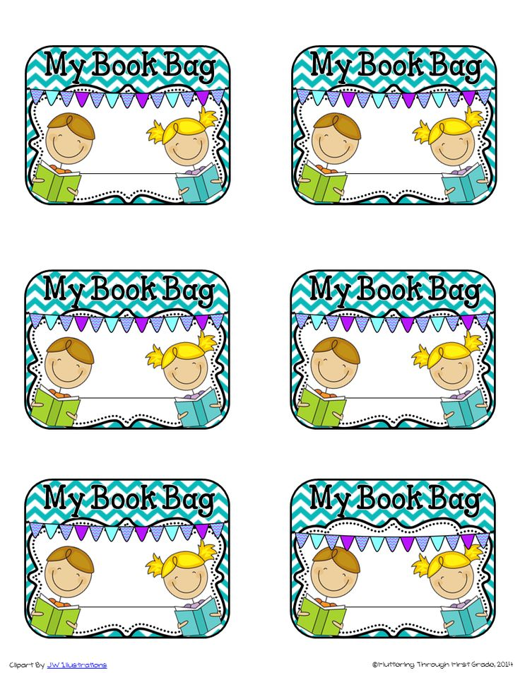 "Super cute book bag labels! ....Follow for Free ""too-neat-not-to-keep"" teaching tools & other fun stuff :)"