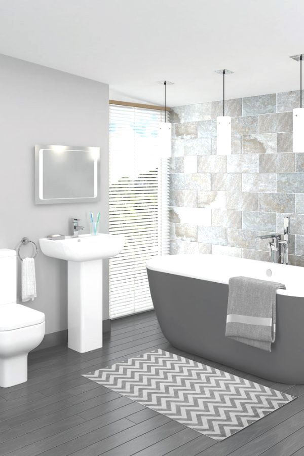 This beautiful grey bathroom design is complemented brilliantly by
