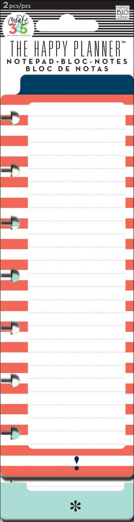 Notepads - Red & Teal - Sometimes you just need a quick little notepad to jot down a grocery list or a to-do list.  This skinny notepad is easy to add to your Happy Planner™ as a reminder of what you need to do. The tab on the top of each pad helps you quickly identify where you have your lists in your Happy Planner™. Each package includes 2 pre-punched notepads…each with 20 sheets.