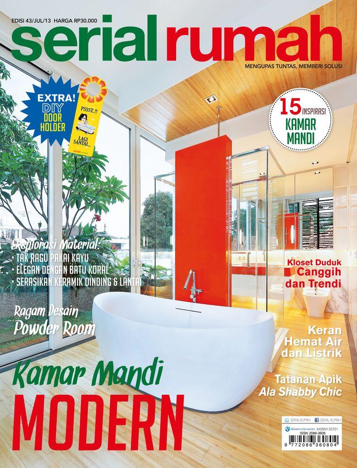 interior, magazine, design, cover serial rumah, kamar mandi modern