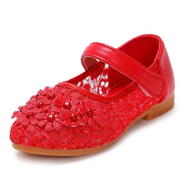 Breathable Flower Princess Wedding Girls Dress Shoes