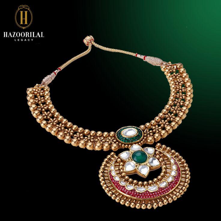 A testimony to bridal elegance.  #HazoorilalLegacy #Hazoorilal #Jewelry #Bridal #Gold #KundanPolki #Necklace