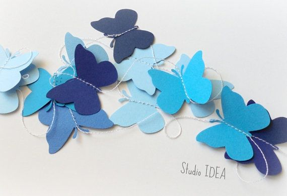 Butterfly Paper Garland, Wall Decor -10 feet long - CHOOSE YOUR COLORS
