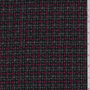 Black, raspberry pink, steel grey and ivory plaid. A medium weight textured poly/rayon blend fabric with good drape.Compare to $10.00/yd