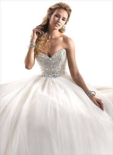 New Sweetheart Shine Rhinestone and Beads Tulle Wedding Dresses Ball Gown Custom