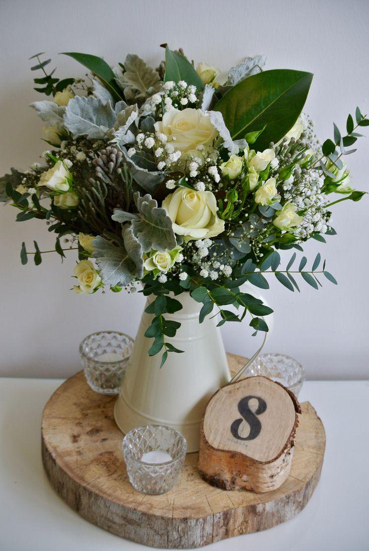 Vintage Jug With Flowers Log Slice Wooden Table Number And T Lights