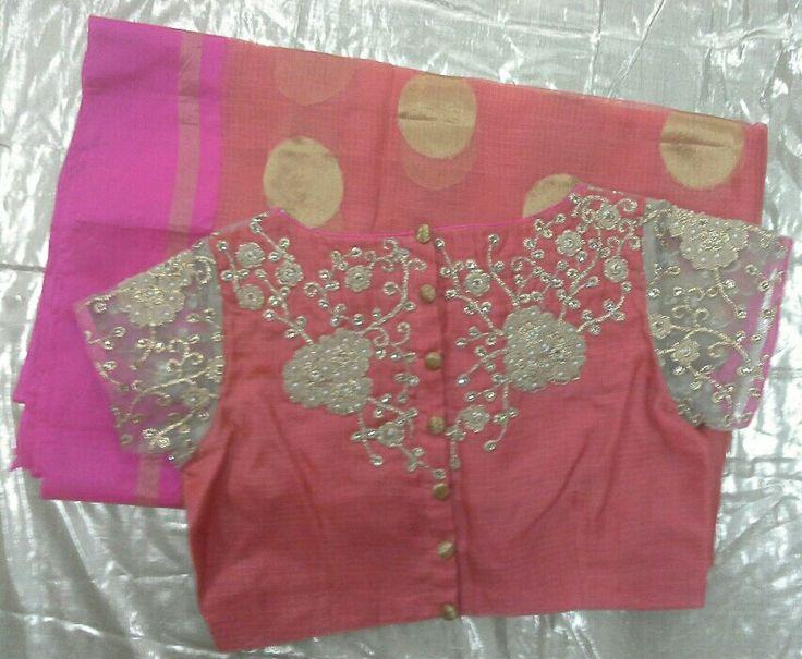 Kota saree with gold aplic work for blouse 7702919644