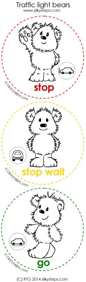 Traffic lights painting activity - STOP WAIT GO bear stampers