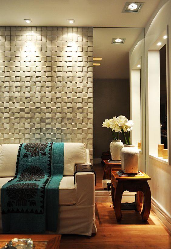 revestimento de gesso para parede | Imagem 12 – Painel de gesso e forro de madeira