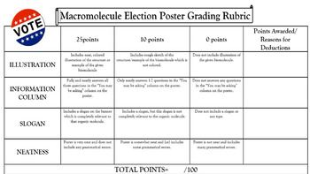 Included in this assignment are four editable macro molecule poster templates on Legal Sized Paper. One for each of the biological macro molecules (Carbohydrates, Lipids, Proteins, Nucleic Acids). Each poster addresses the structure(illustration), monomer, functions, and examples of the macro molecule.