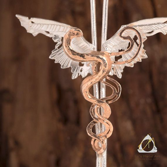 Caduceus Hermes silver pendant medical gifts student gift