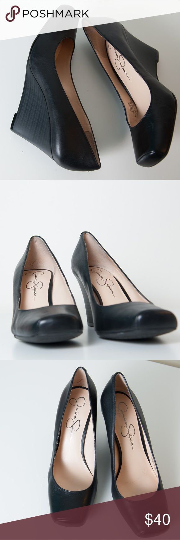 NWOT Jessica Simpson Salley Wedge Pump 6.5 Black Black size 6.5 Jessica Simpson Salley Wedge. Designed with a leather upper and closed toe, it is the perfect addition to any casual office attire. Heel measures approximately 3.25″ Jessica Simpson Shoes Wedges
