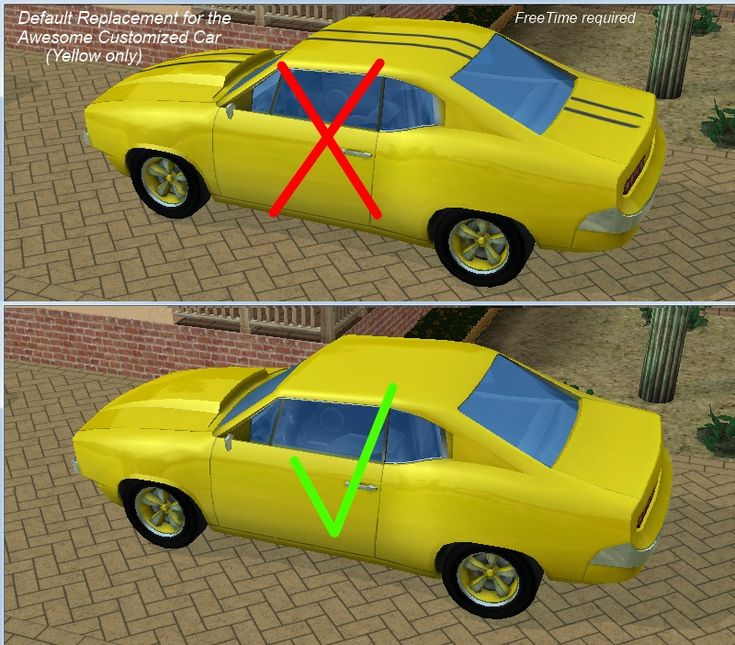 Removes the black stripes from the yellow paint job for the Awesome Customized Car from FreeTime.