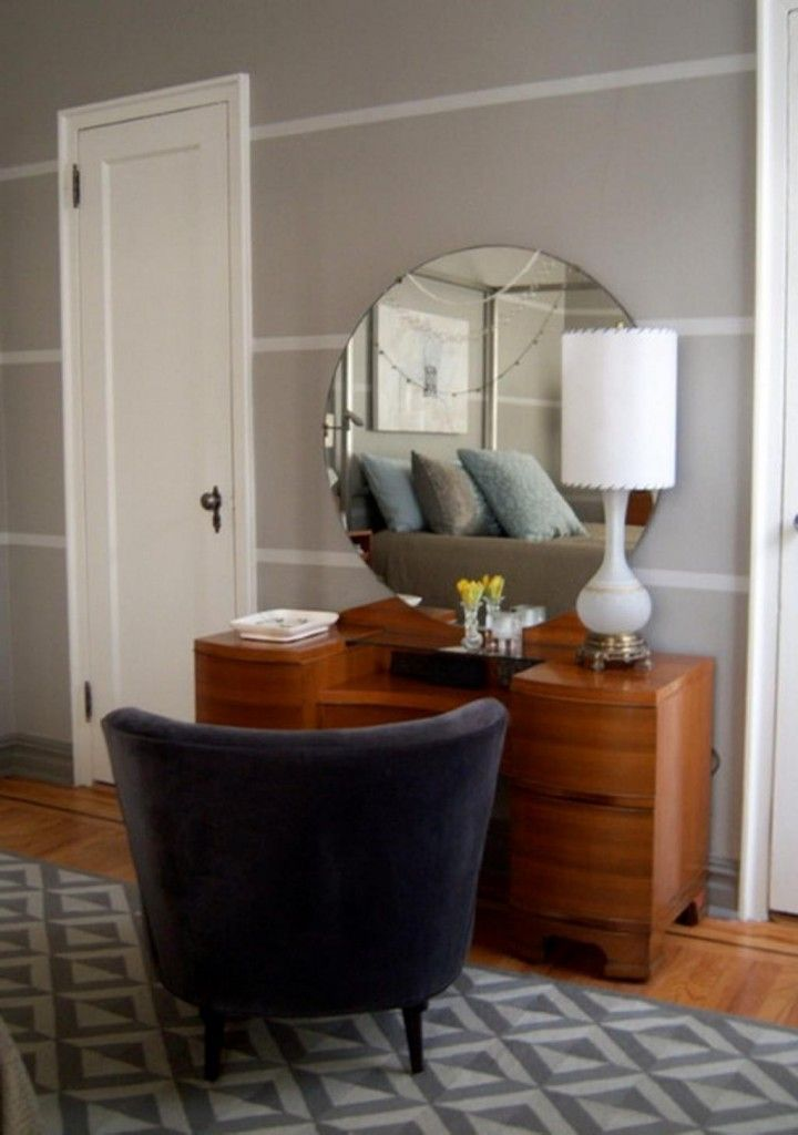 http://www.drissimm.com/wp-content/uploads/2014/11/Adorable-wooden-vanity-mirror-and-round-miror-on-gray-wall-paint-as-well-lamp-desk-the-top-as-well-dark-gray-sofa-on-rug.jpg