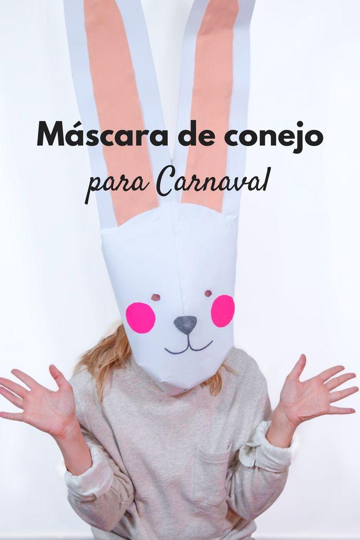 Máscara de conejo para Carnaval  ➜  Crea una máscara de conejo gigante con cartulina y goma eva y ¡a brincar en Carnaval! #Máscara #DIY #Carnaval #Disfraces #Careta #Conejo #Manualidades #GomaEva #Handfie