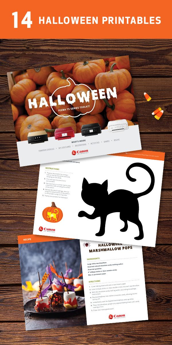 Make Halloween even sweeter with the printable PIXMA TS Series toolkit. Print everything from pumpkin stencils and spooky word scrambles, to recipes for ghoulishly good snacks.