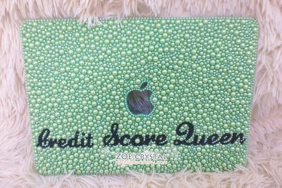 SALES Back to School Promotion MACBOOK Air Pro Case Cover Bedazzled Bling w Light Green Pearls Swarovski Rhinestone Strass Glitter Bejeweled