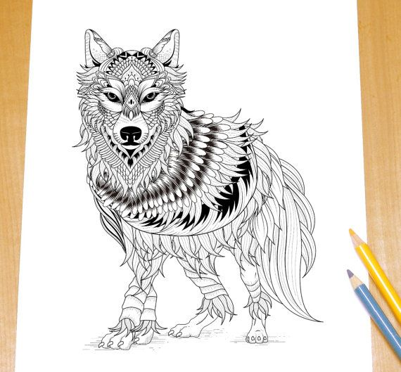 Ferocious Wolf - Adult Coloring Page Print   Best Adult ...