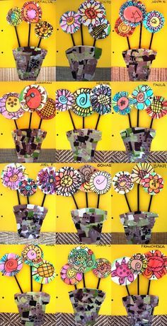 2nd grade Collaged flower pots with watercolor flowers