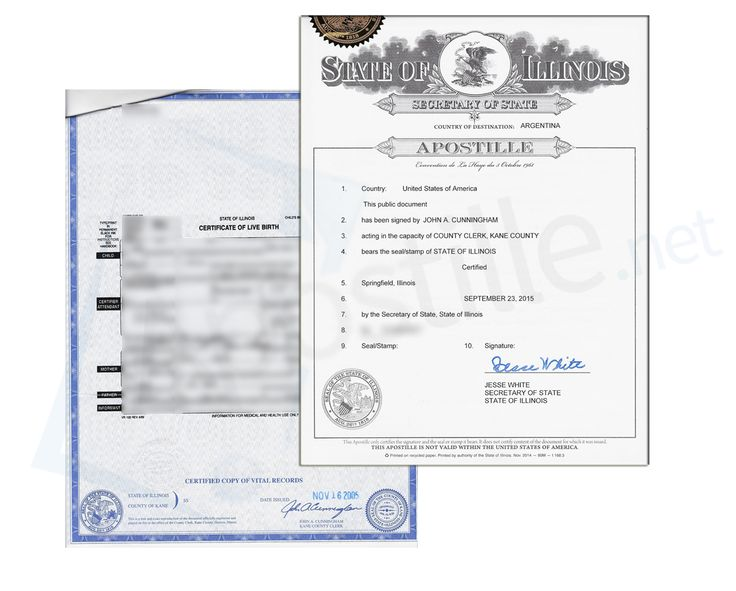 This is a sample of an Illinois Birth Certificate sign acceptable