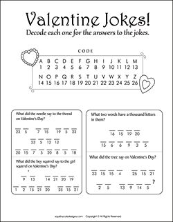 Valentine's Day jokes for kids - Valentine riddles - free printable party games, puzzles, decode a message - Valentine coloring pages