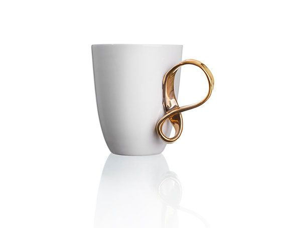 MOBIUS cups set of two white and gold china mugs for by ENDEsign