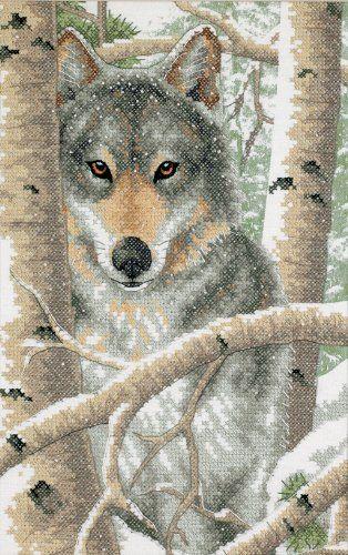 Dimensions Needlecrafts Stamped Cross Stitch, Wintry Wolf